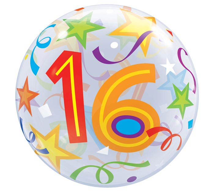 "22"" PKG 16TH BIRTHDAY BUBBLE BALLOON"