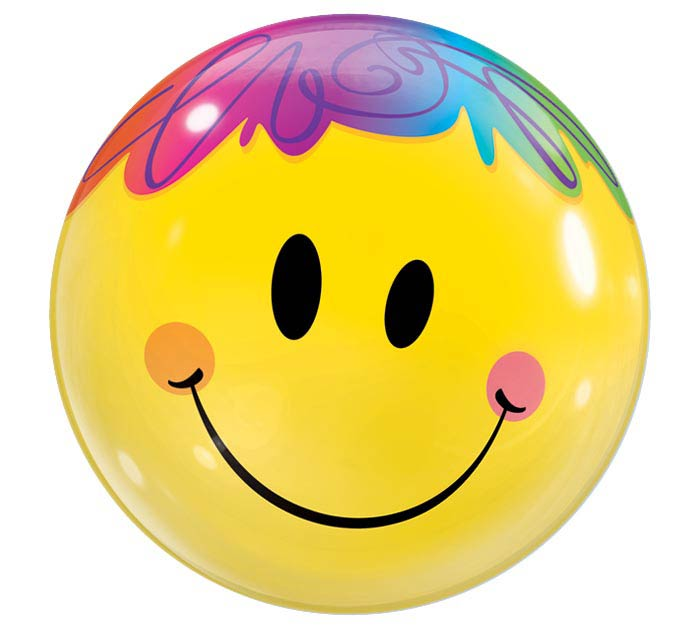 "22"" PKG MULTICOLOR HAIR SMILE BUBBLE"
