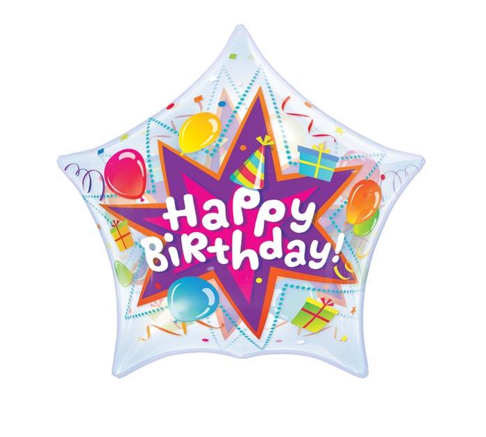 "22"" PKG HAPPY BIRTHDAY BUBBLE BALLOON"