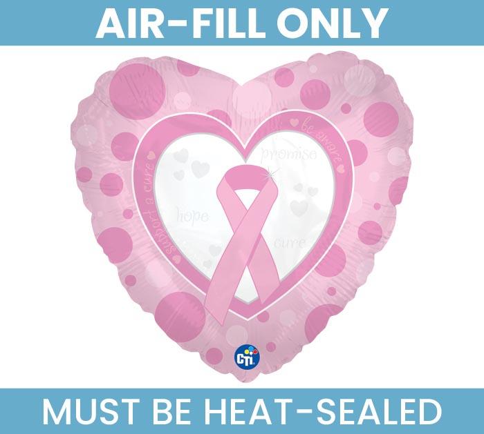 "9""FLAT BREAST CANCER AWARENESS HEART"