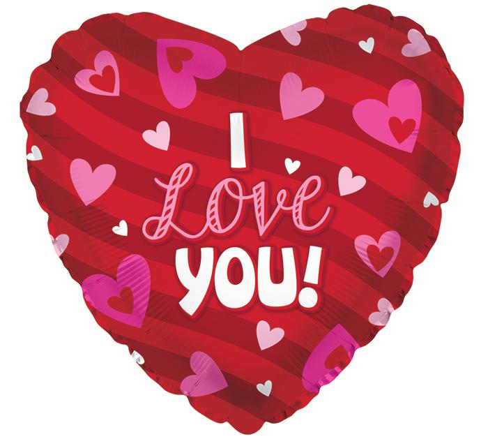 """17""""ILY I LOVE YOU STRIPES  HEARTS"""