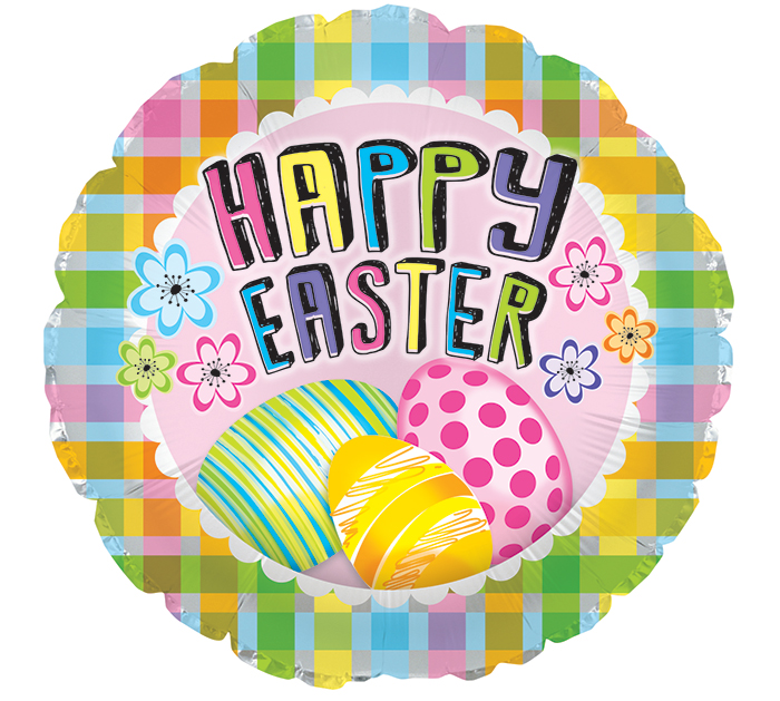 """17"""" PLAID HAPPY EASTER WITH EGGS"""