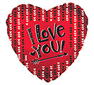 "17"" I LOVE YOU HEARTS  ARROW RED HEART"