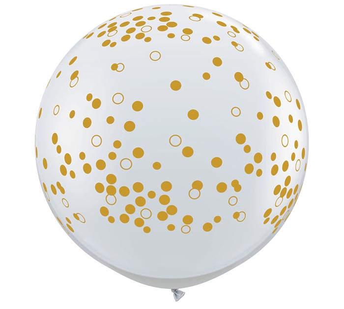 3' GOLD CONFETTI DOTS ON CLEAR LATEX