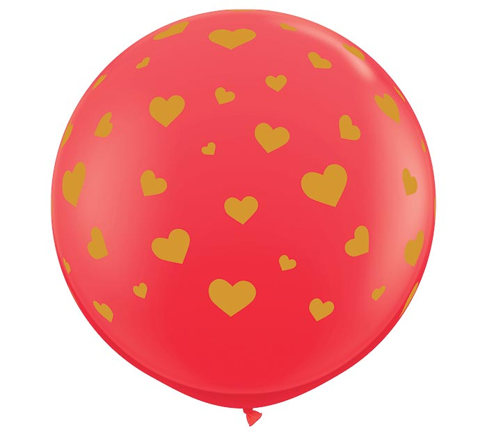 3' RANDOM HEARTS-A-ROUND GOLD ON RED