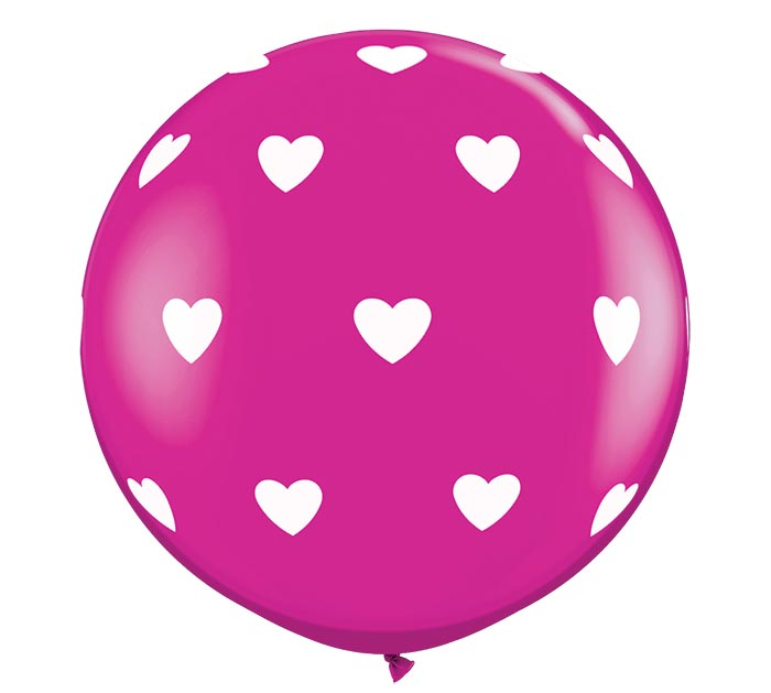 3' LUV BIG HEARTS-A-ROUND WILD BERRY