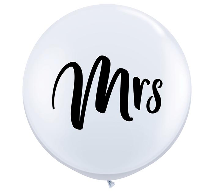 3' MRS ON WHITE LATEX BALLOON