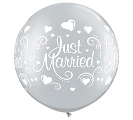"30""WED JUST MARRIED HEARTS SILVER"
