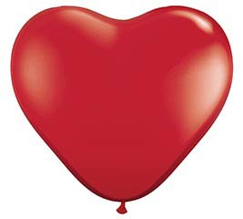 3' RUBY RED HEART SHAPE QUALATEX LATEX