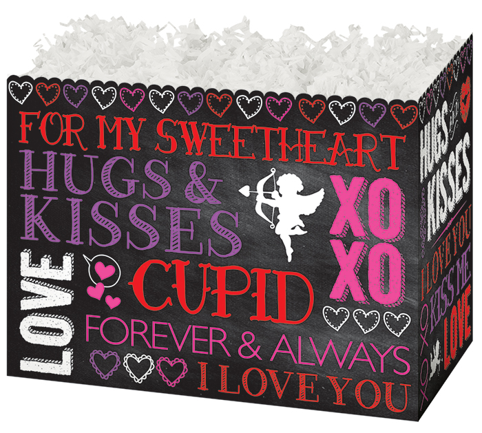 SMALL BOX HUGS  KISSES CHALKBOARD STYLE
