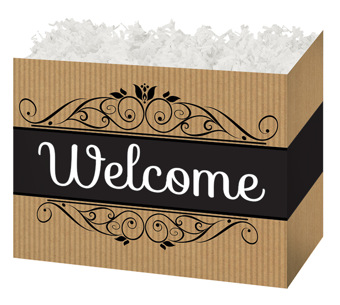 SMALL WELCOME KRAFT STRIPE BASKET BOX