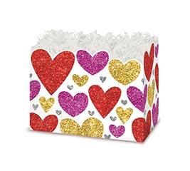 SMALL DIE CUT BOX GLITTERING HEARTS
