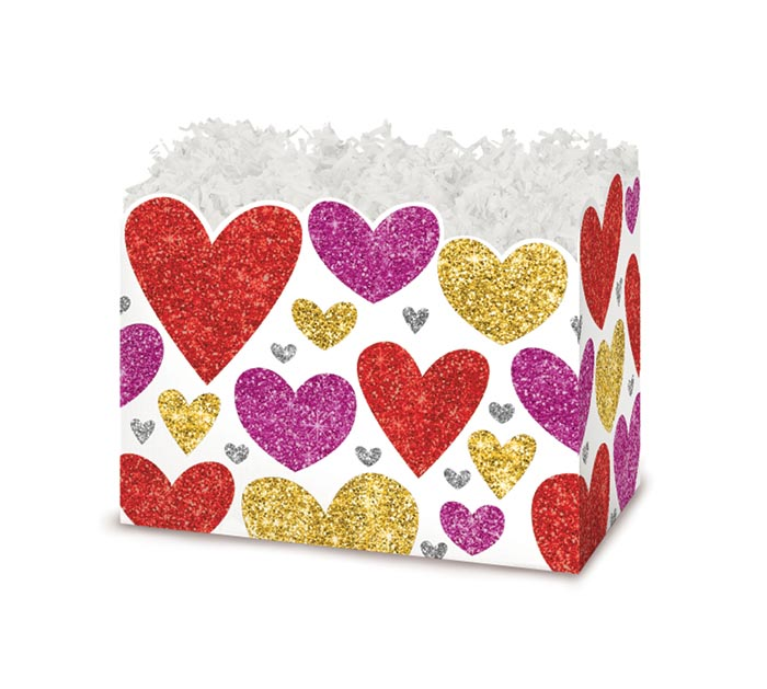 SMALL DIE CUT BOX GLITTERING HEARTS