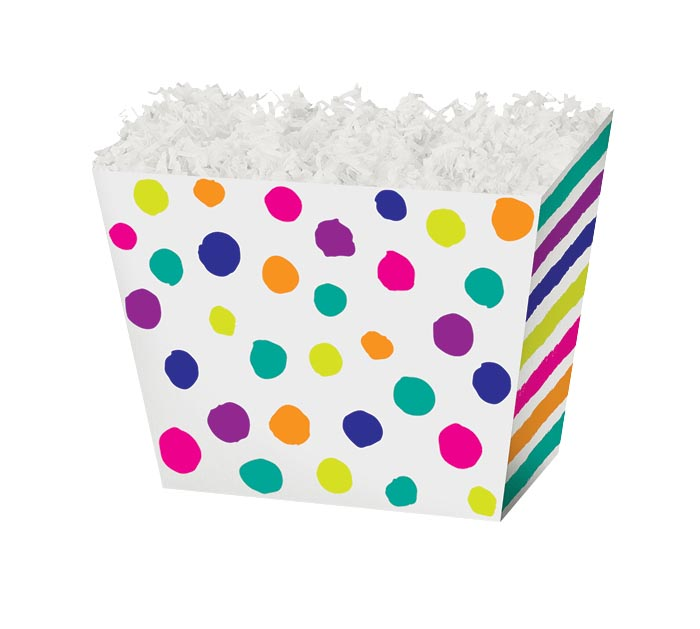 SMALL BOX PAINTED DOTS  STRIPES ANGLED