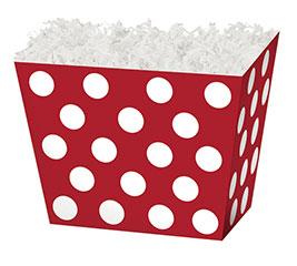 SMALL BOX RED  WHITE DOTS ANGLED BOX