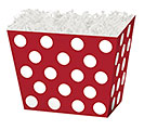 SMALL BOX RED  WHITE DOTS ANGLED BOX