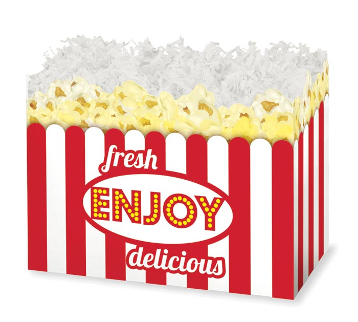 LARGE FRESH POPCORN DIE-CUT BASKET BOX