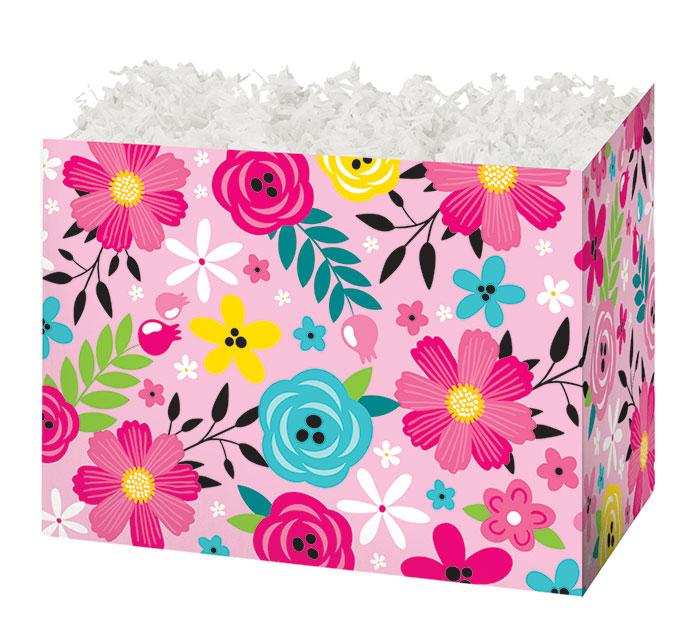 LARGE PINK FLORAL BASKET BOX