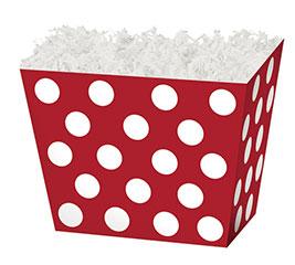 LARGE BOX RED  WHITE DOTS ANGLED BOX