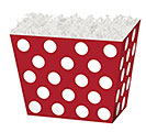 LARGE BOX RED  WHITE DOTS ANGLED BOX