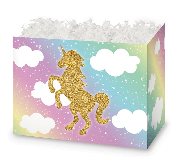 LARGE DIE CUT BOX GLITTER UNICORN
