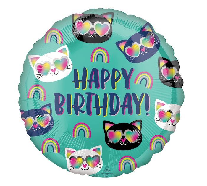 "17""PKG COOL KITTY RAINBOW BIRTHDAY"