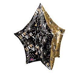 "34"" PKG HAPPY NEW YEAR MULTI-PANEL STAR"