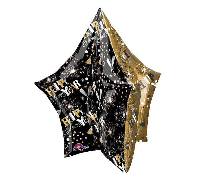 "34"" PKG HAPPY NEW YEAR MULTI-PANEL STAR"