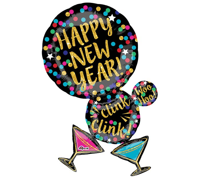 "34"" PKG HAPPY NEW YEAR MARTINI GLASS"