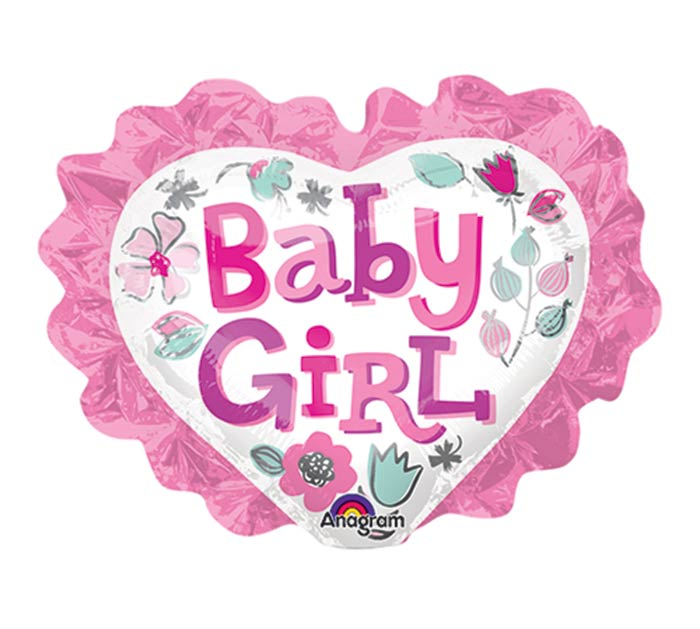 "12""INFLATED BABY GIRL HEART FLORAL"