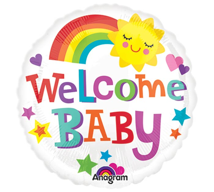 """9""""INFLATED BBY WELCOME BABY BRIGHT  BOL"""