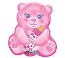 "16""PKG BABY GIRL BEAR WITH BOTTLE"