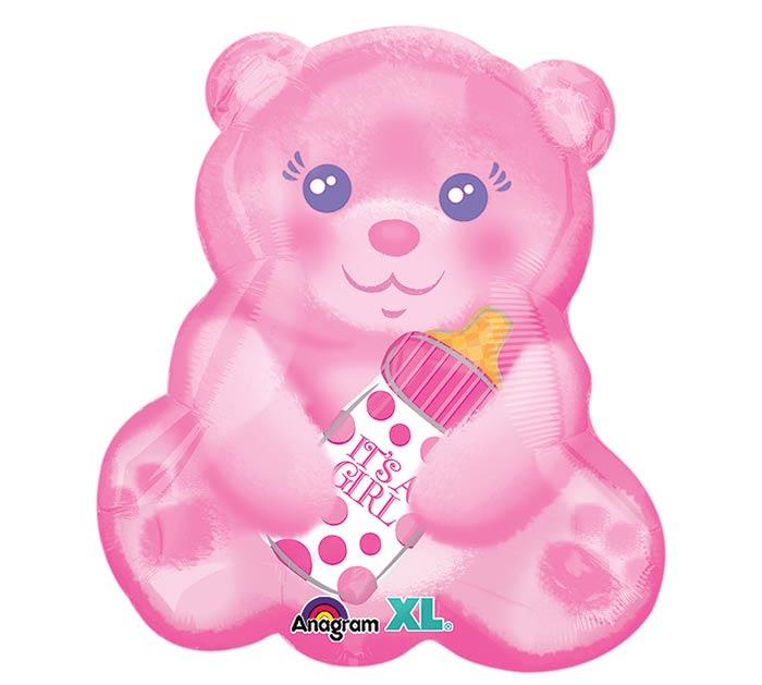 """16""""PKG BABY GIRL BEAR WITH BOTTLE"""