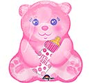 "10""INFLATED BABY GIRL BEAR WITH BOTTLE"