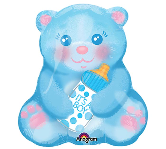 "10""INFLATED BABY BOY BEAR WITH BOTTLE"