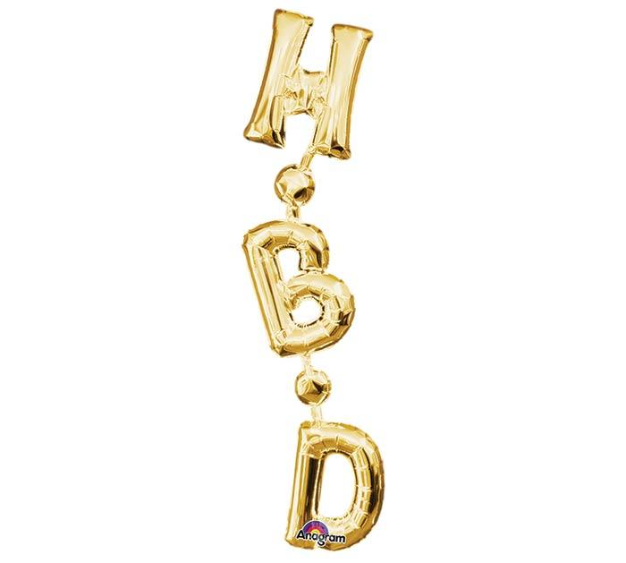 """32""""PKG HBD GOLD VERTICAL PHRASE"""