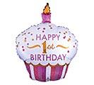 "36""PKG HBD 1ST BIRTHDAY CUPCAKE GIRL"