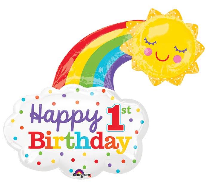 "30""PKG HBD 1ST BIRTHDAY RAINBOW"