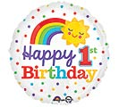 "17""PKG HBD 1ST BIRTHDAY RAINBOW"