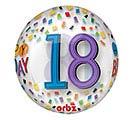 "16""PKG HBD ORBZ 18 BIRTHDAY RAINBOW"