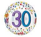 "16""PKG HBD ORBZ 30 BIRTHDAY RAINBOW"