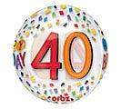 "16""PKG HBD ORBZ 40 BIRTHDAY RAINBOW"