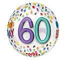 "16""PKG HBD ORBZ 60 BIRTHDAY RAINBOW"