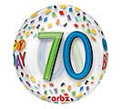 "16""PKG HBD ORBZ 70 BIRTHDAY RAINBOW"