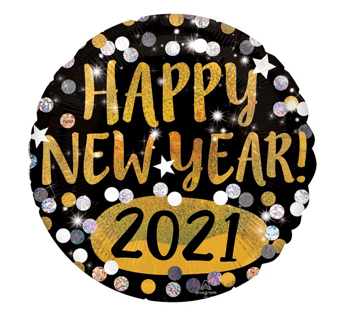 "18""HNY 2020 GOLD  SILVER SPARKLES"