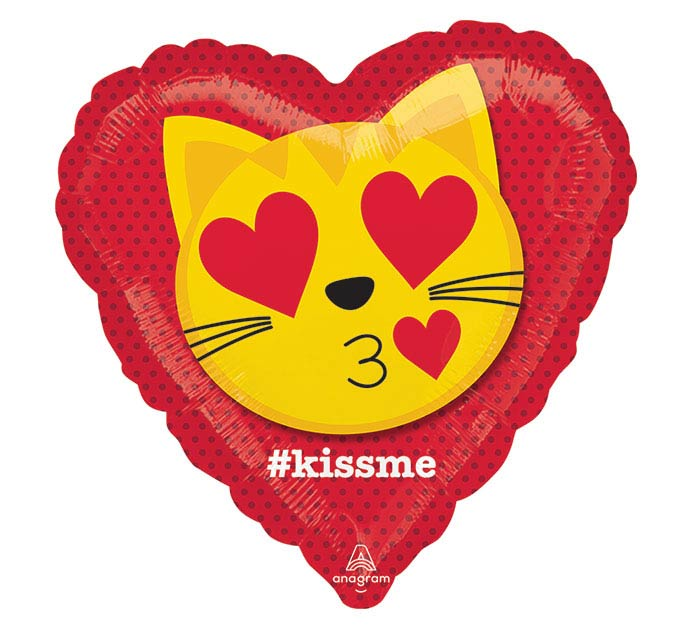 "17""LUV CAT EMOTICON KISS"