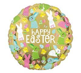 "4""INFLATED EAS HAPPY EASTER GOLD"