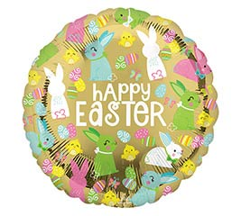 "17"" HAPPY EASTER BUNNIES ON GOLD BALLOON"