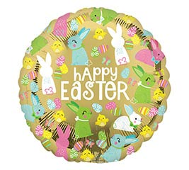 """9""""INFLATED EAS HAPPY EASTER GOLD"""