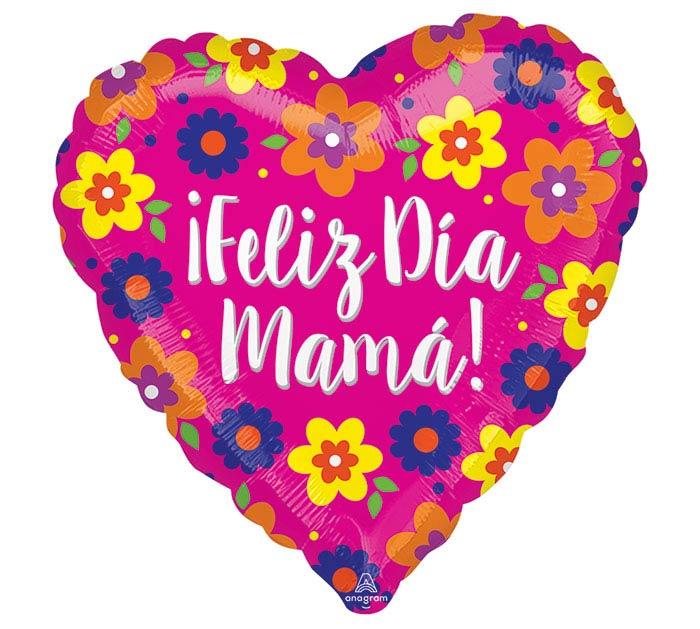 "17""SPA FELIZ DIA MAMA FLOWERS HEART"